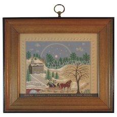 Bucks County Pennsylvania Winter Scene Folk Art Print