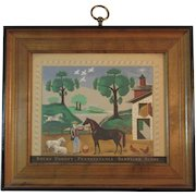 Bucks County Pennsylvania Barnyard Scene Folk Art Print