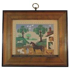 Bucks County Pennsylvania Barnyard Scene Folk Art Print