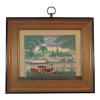 Bucks County Pennsylvania River Scene Folk Art Print Boat and Train