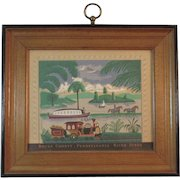 Bucks County Pennsylvania River Scene Folk Art Print Boat and Train