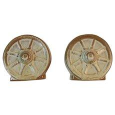 Frankoma Pottery Desert Gold Wagon Wheel Salt and Pepper Shakers Nice Fall Autumn Fall Tableware Decor