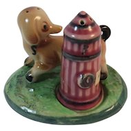 Dog and Fire Hydrant Salt and Pepper Shaker Set with Tray