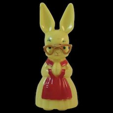 Knickerbocker Easter Bunny in Red Apron with Glasses Hard Plastic Decoration