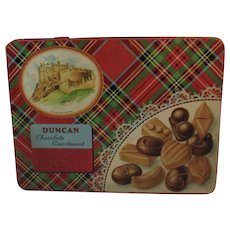 Duncan Chocolate Assortment Tin Scottish Tartan Plaid Edinburgh Castle Scotland