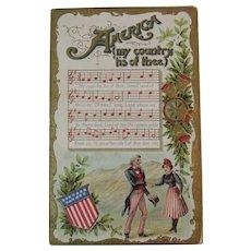 America My Country Tis of Thee Embossed Patriotic German Postcard Germany Music and Lyrics