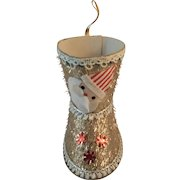Christmas Candy Container Santa Boot with Gold Tinsel and Felt Santa