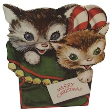 Christmas Card with Kitty Cats in a Stocking Stand Up