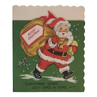 Pop Up Christmas Card with Santa, Red Plastic Horn and a Bear by Gay Greetings Popup Pop-Up