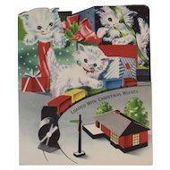 Christmas Kitty Cats and Train Embossed Greeting Card