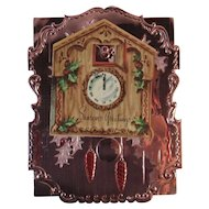 Embossed Foil Christmas Card with Cuckoo Clock Greeting Pink and Silver