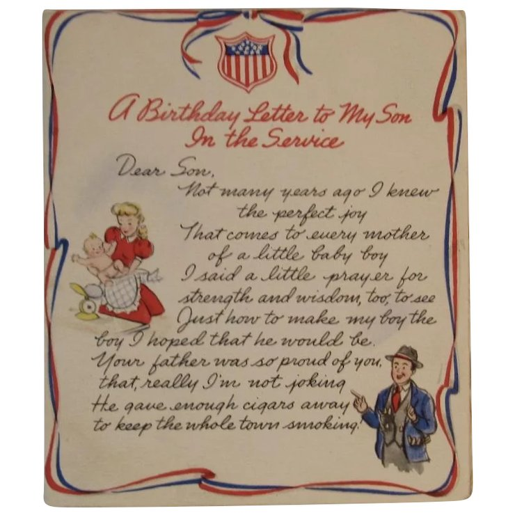 1943 wwii a birthday letter to my son in the service hallmark card hall brothers
