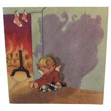 Eve Rockwell Christmas Card with Angel and Puppy Dog Artist Illustrator Illustrated