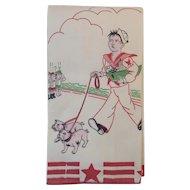 WWII US Navy Linen Tea or Bar Towel U.S.N. Two Ocean Fleet Sailor with Bulldogs Walking Past Japanese