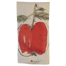Vintage Vera Neumann Apple Linen Tea Towel for Kitchen