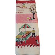 Vintage Linen Kitchen Tea Towel Amish Farmer with Fruit Cart