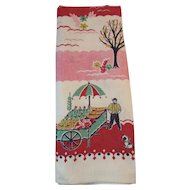 Vintage Linen Kitchen Tea Towel Amish Farmer with Fruit Cart