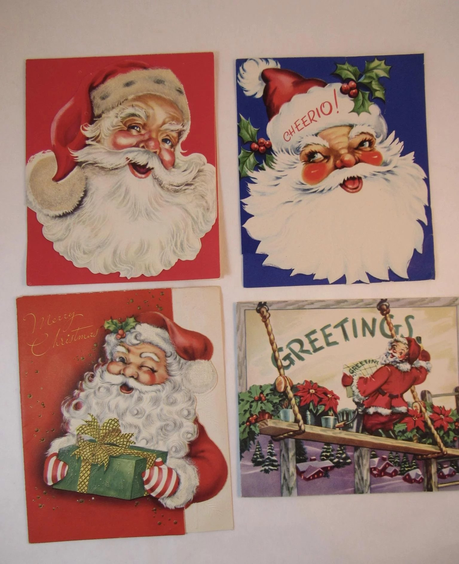 4 Embossed Santa Christmas Cards Vintage 1950s By Famous Artists