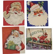 4 Embossed Santa Christmas Cards Vintage 1950s by Famous Artists Studios, Pollyanna, American Greeting, Artistic Card 2 Flocked