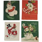 4 Snowman Christmas Cards Vintage 1950s Made in USA and The Pollyanna Line 1 Flocked