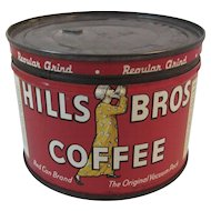 1939 Hills Bros Half Pound Coffee Tin 1/2 LB Brothers