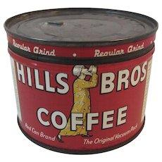 1939 Hills Bros Half Pound Coffee Tin 1/2 LB Brothers