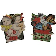 2 1950s Snowman Stand Up Christmas Cards Rocking Horse and Carolers Snowmen