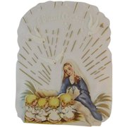 Unused Clear Back Christmas Card Mary & Baby Jesus in Manger Nativity Scene with Angels Sunshine Line