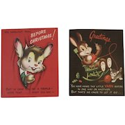 2 Bunny Rabbit and Cat Vintage Christmas Pop Up Cards Peep Through Gay Greetings and Made in USA Popup Pop-up