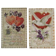 2 Embossed Valentine Postcards Hearts Dove and Forget Me Nots German Germany