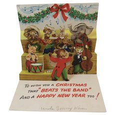Animal Musicians Pop Up Christmas Card Bear Conductor Musical Band