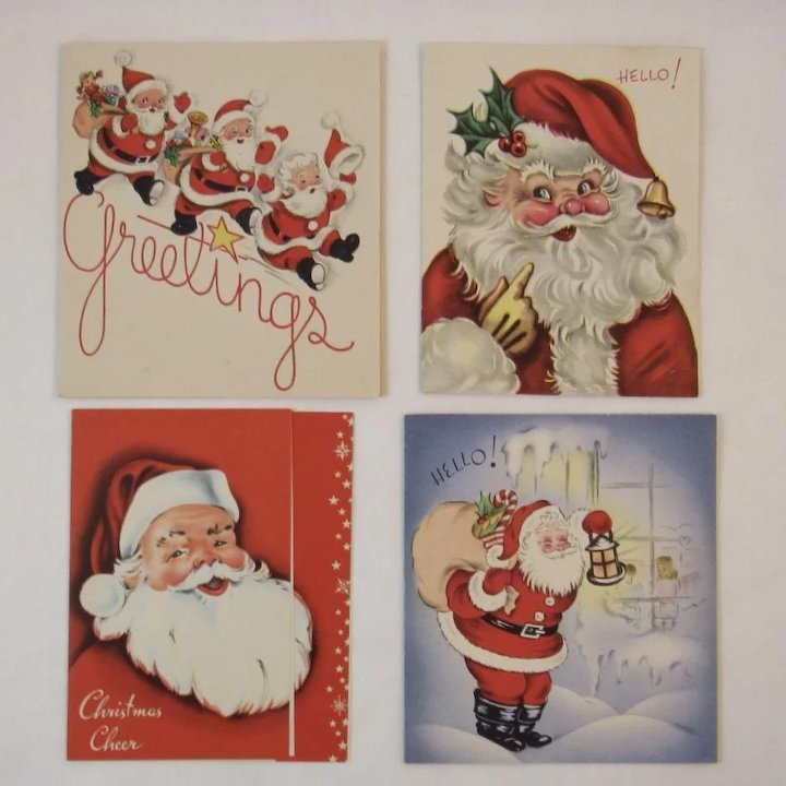 4 1950s Santa Christmas Cards : SS Moore Antiques | Ruby Lane