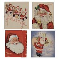 4 1950s Santa Christmas Cards