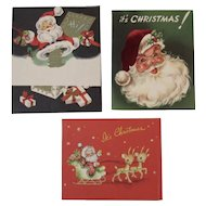 3 1950s Santa Claus Christmas Greeting Cards by Artistic Hawthorne-Sommerfield and American Greeting