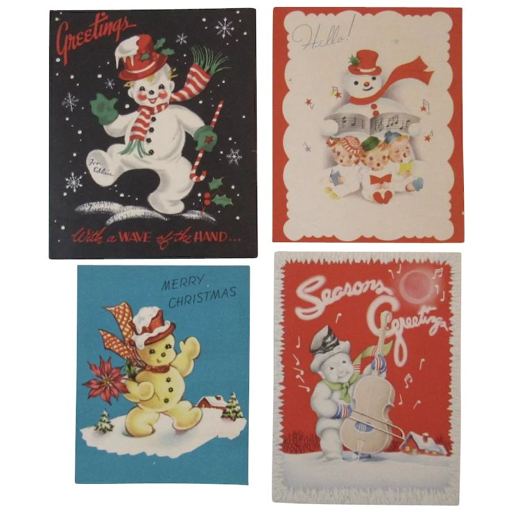4 1950s Snowman Christmas Greeting Cards Snowmen Made in USA 2 are ...