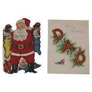 2 Flocked Glittered Christmas Greeting Cards for Daddy Dad Santa Claus Cat and Dog in Stockings