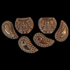 6 Copper Candy Chocolate Molds Butterfly and Crescent Shapes