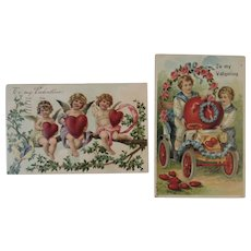 2 German Embossed Valentine Postcards with Cupid, Red Hearts, Edwardian Children and a Car