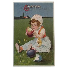 Embossed Easter Postcard Girl with Eggs Hatching Chicks