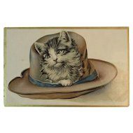Cat in a Hat Embossed Postcard Kitty Kitten