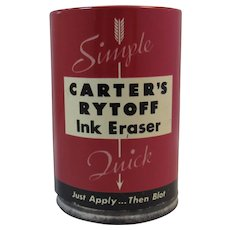 Carter's Rytoff Ink Eraser Tin with Amber Glass Bottle Inside