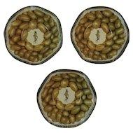 3 Mr. Peanut Tin Litho Nut Dishes Bowls
