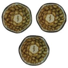 3 Mr. Peanut Tin Litho Nut Dishes Bowls