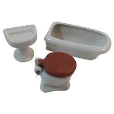 Dollhouse Miniature Porcelain Bathtub Sink and Commode Made in Japan Bathroom Set