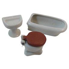 Dollhouse Miniature Porcelain Bathtub Sink and Commode Made in Japan Bathroom Set