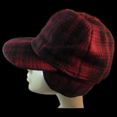 Woolrich Red Plaid Wool Sportsmans Cap Hat with Ear Flaps Reversible