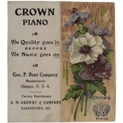 1911 Crown Piano Pocket Calendar Embossed Printed in Germany German Litho Advertising