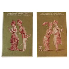 2 Van Haagen's Toilet Soap Victorian Trade Cards Benjamin Brooke & Co Philadelphia Lady, Dog and Military Man