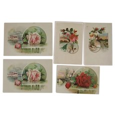 5 Lion Coffee Victorian Trade Cards with Roses Rose Picture Cards Woolson Spice Co
