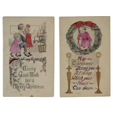 2 Gartner & Bender Hand Colored Christmas Postcards Santa and Children with Tree Wreath and Candles